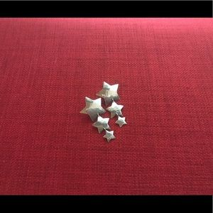 Silver dangle star post earrings